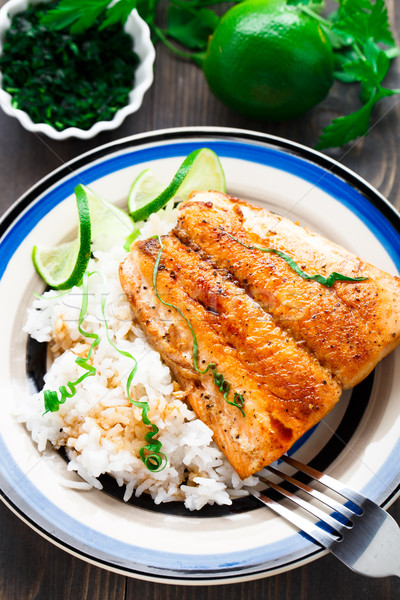 Baked salmon with rice Stock photo © vankad