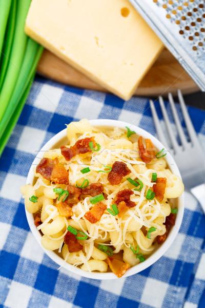 Stockfoto: Mac · kaas · spek · heerlijk · kom · voedsel
