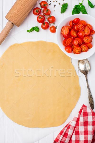 Cherry tomato tart. Cooking process. Stock photo © vankad