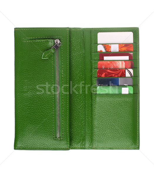 Open green leather wallet Stock photo © vankad