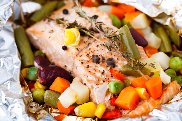 Salmon fillet with vegetables and thyme Stock photo © vankad