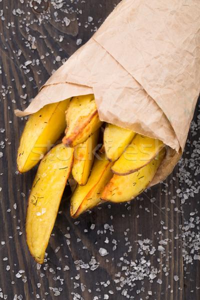 Aardappel perkament papier plantaardige schotel zout Stockfoto © vankad