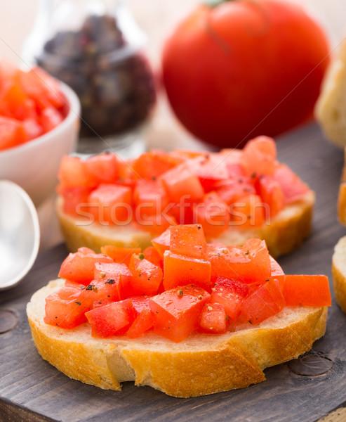 Italiana bruschetta pomodori tavola olio pomodoro Foto d'archivio © vankad