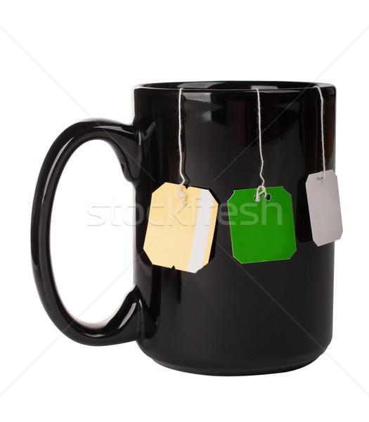 Cup with three tea bags Stock photo © vankad