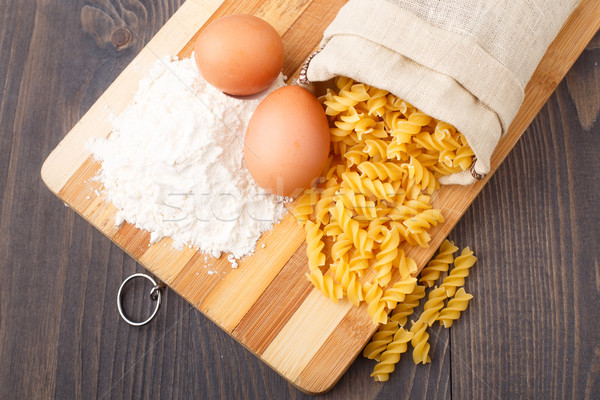 Flour eggs and pasta Stock photo © vankad