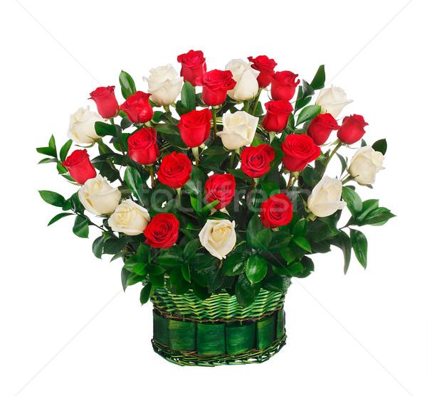 Koszyka czerwony biały róż odizolowany ślub Zdjęcia stock © vankad
