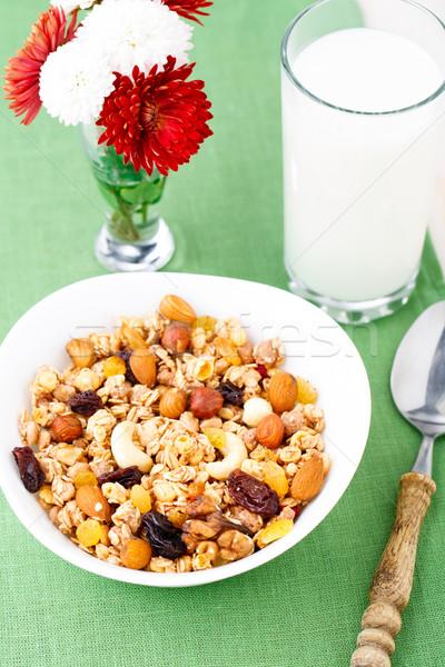 Sağlıklı müsli kahvaltı fındık kuru üzüm kuru Stok fotoğraf © vankad
