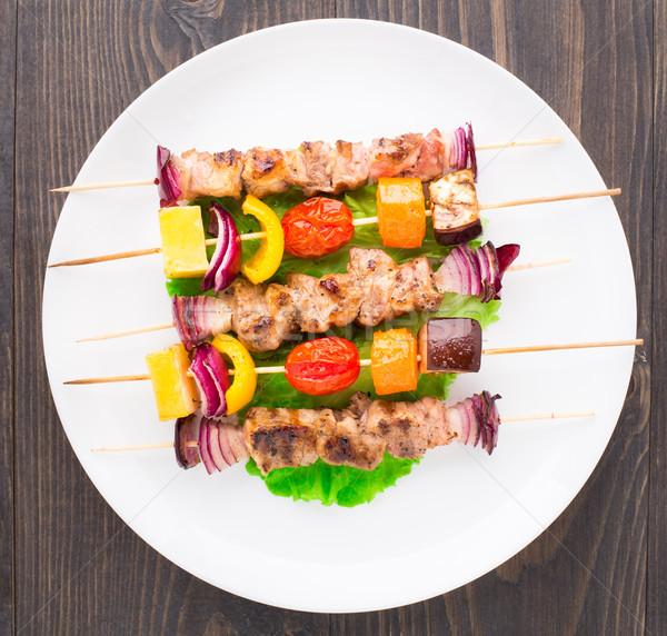 Carne de porco vegetal madeira tabela branco pimenta Foto stock © vankad