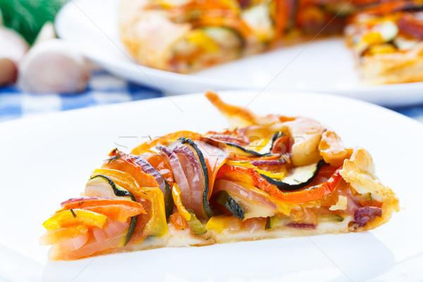 Delicioso vegetal branco prato comida tomates Foto stock © vankad