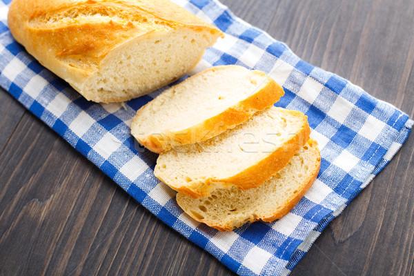 Friss cipó fehér kenyér kék szalvéta étel Stock fotó © vankad