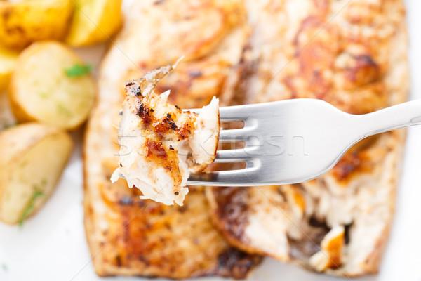 Makreel vork gebakken aardappel vis Stockfoto © vankad