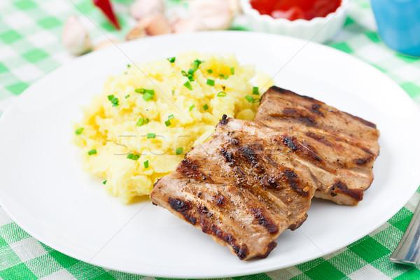 ストックフォト: 焼き · リブ · ジャガイモ · プレート · 食品 · ディナー