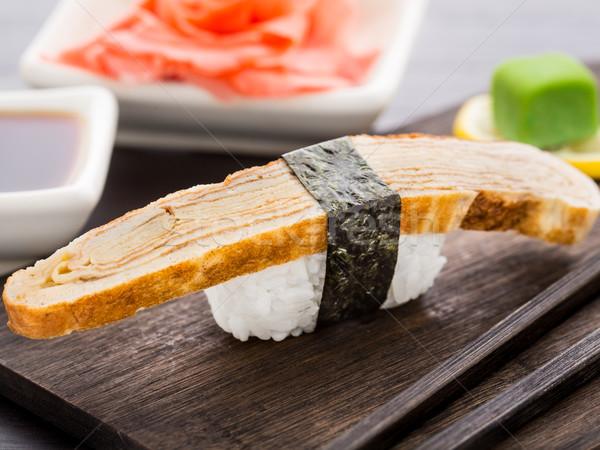 Nigiri sushi with omelette Stock photo © vankad
