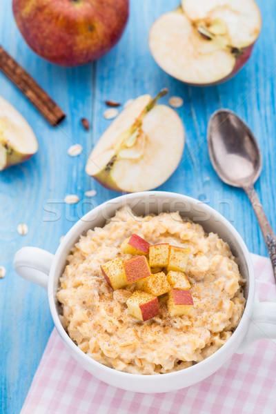 Tasty oatmeal with apples and cinnamon Stock photo © vankad