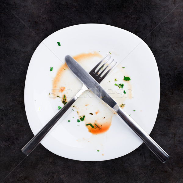 Empty plate left after dinner Stock photo © vankad