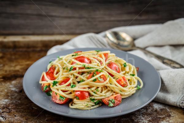пасты помидоры черри петрушка спагетти фон нефть Сток-фото © vankad