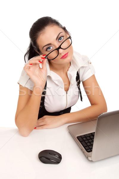 портрет деловой женщины сидят столе глядя бизнеса Сток-фото © vankad