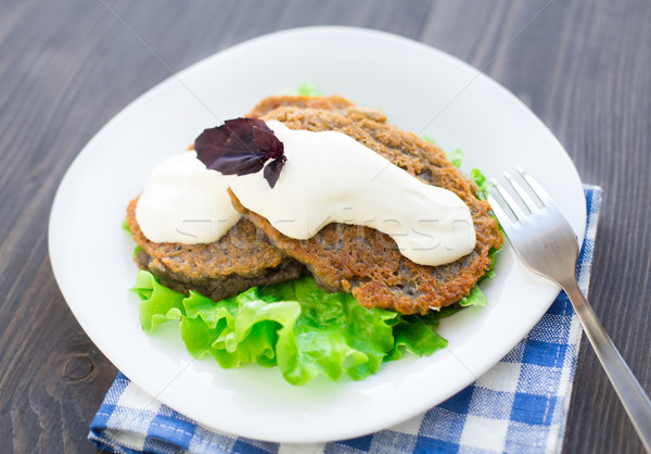 картофеля блин сметана пластина приготовления обед Сток-фото © vankad
