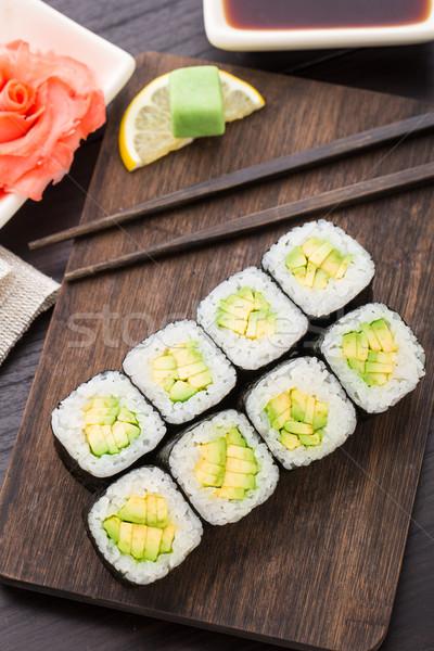 Sushi rolls with avocado Stock photo © vankad