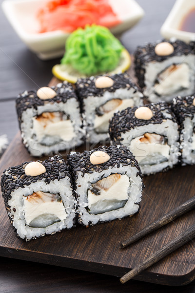Stock photo: Sushi rolls with eel and creamcheese