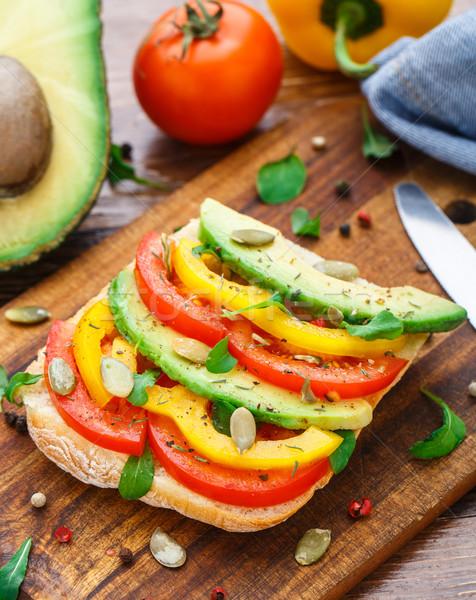 авокадо сэндвич вегетарианский томатный продовольствие Сток-фото © vankad
