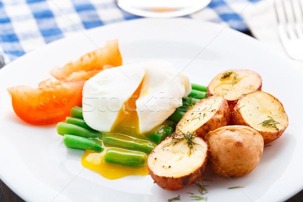 Uovo francese fagioli patate piatto Foto d'archivio © vankad
