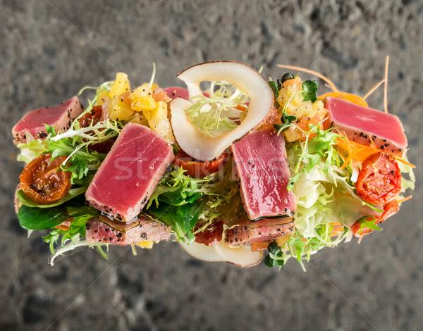 Tuńczyka Sałatka konkretnych refleksji tekstury ryb Zdjęcia stock © vankad