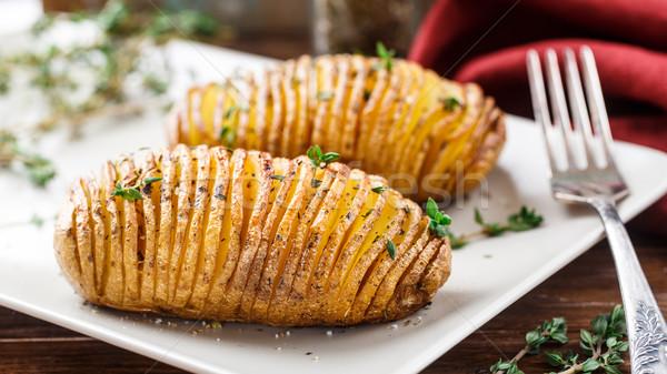 Batatas prato jantar carne quente Foto stock © vankad