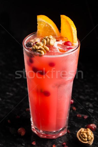 Stockfoto: Cocktail · tabel · garnering · marmer · glas