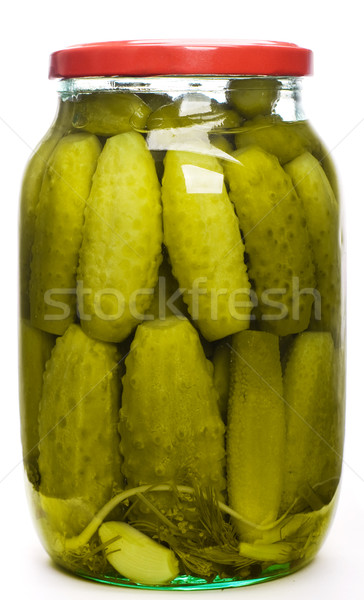 Jar augurken glas groene witte komkommer Stockfoto © vankad