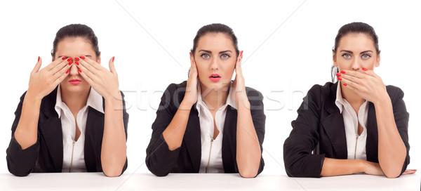 Lát nem gonosz hall beszéd üzletasszony Stock fotó © vankad