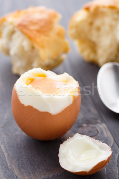 Soft egg with fresh baguette Stock photo © vankad