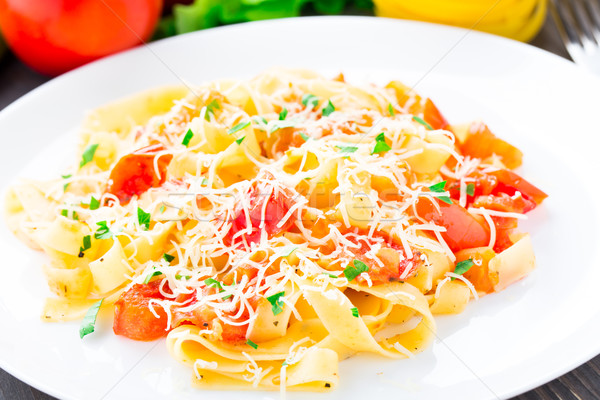 Fettuccine with tomato Stock photo © vankad