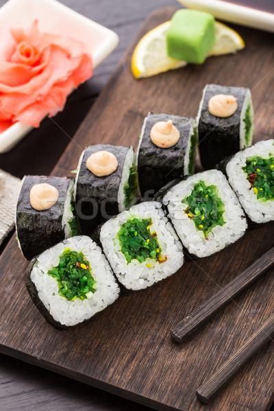 ストックフォト: 寿司 · サラダ · 木板 · 食品 · アジア