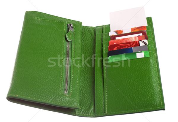 Open verde pelle portafoglio carte di credito uno Foto d'archivio © vankad