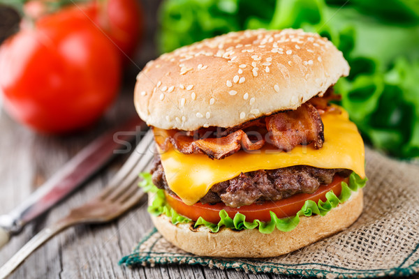 Bacon burger with beef cutlet Stock photo © vankad