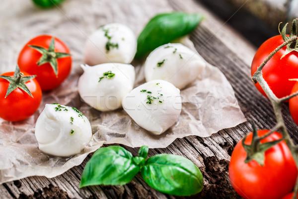 помидоры черри базилик листьев моцарелла сыра Сток-фото © vankad
