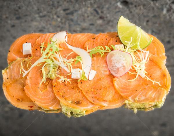 Somon yeni stil sashimi beton doku Stok fotoğraf © vankad