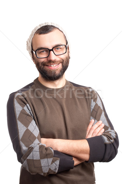 Portrait of handsome young man with beard Stock photo © vankad