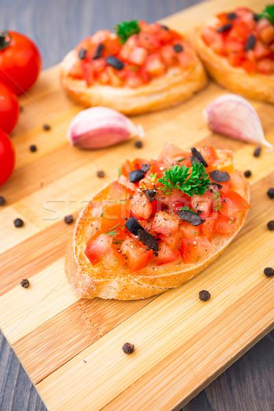 Domates bruschetta zeytin dilim tost Stok fotoğraf © vankad