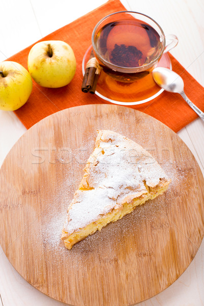 Slice of delicious fresh baked apple pie Stock photo © vankad