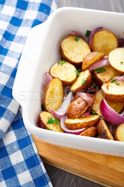 Baked potato with red onion Stock photo © vankad