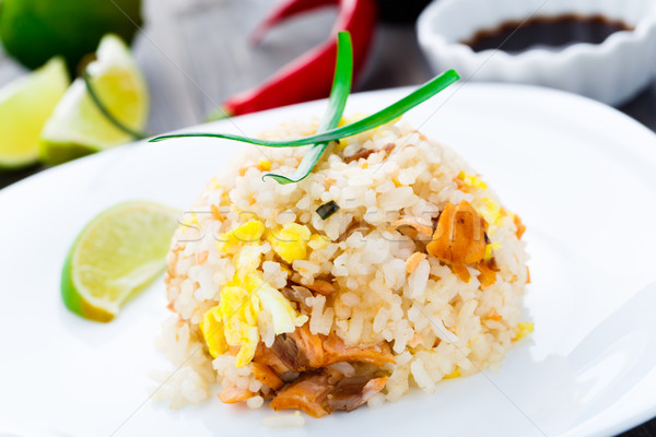 Salmon fried rice Stock photo © vankad