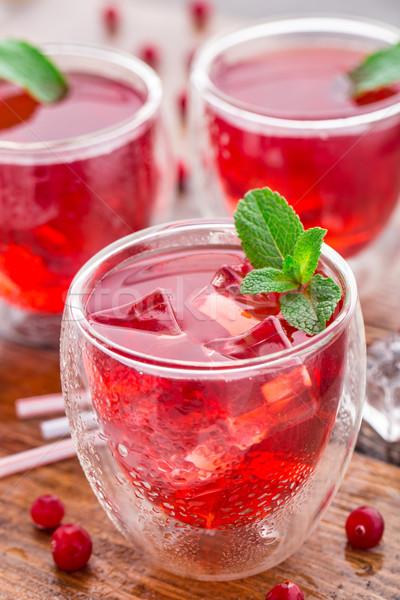 Cocktail mint garnering houten tafel water Stockfoto © vankad