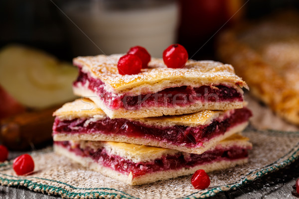 Homemade pie stuffed with cranberries Stock photo © vankad