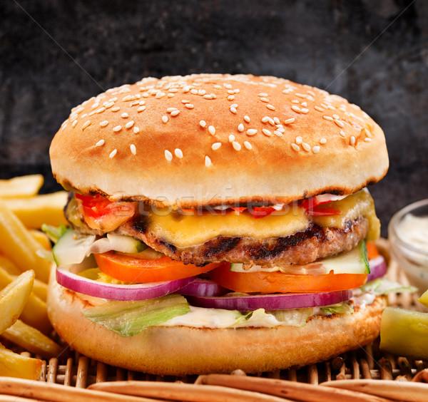 большой Burger фри плетеный таблице Сток-фото © vankad