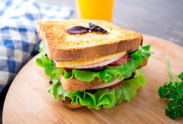 サンドイッチ ハム チーズ トマト レタス サラダ ストックフォト © vankad