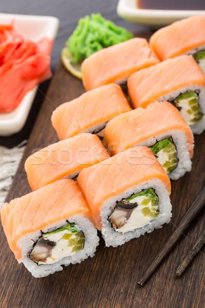 суши катиться лосося угорь копченый продовольствие Сток-фото © vankad
