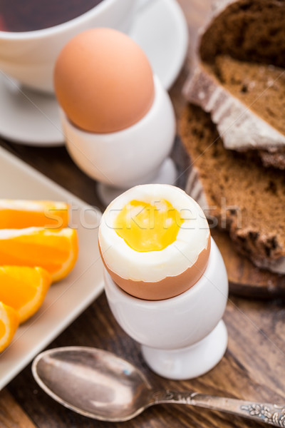 Soft boiled egg for breakfast Stock photo © vankad