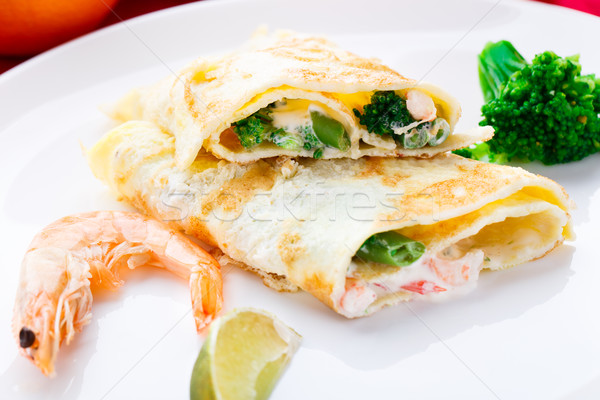 Omelet with shrimps and vegetables Stock photo © vankad
